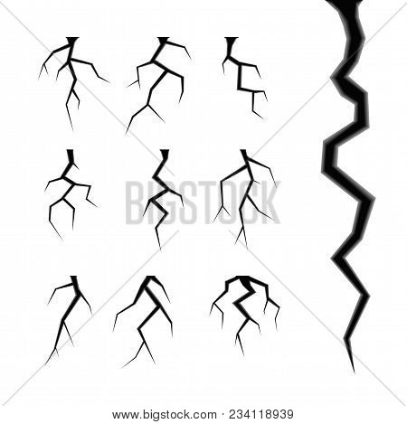 Simple Cracks Vector Set Isolated On White Design Elements Of The Destruction And Damage Of Any Mate