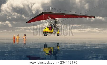 Computer Generated 3d Illustration With An Ultralight Trike Over The Sea And Bathing Women