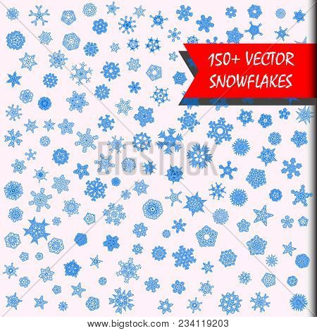 Vector Snowflakes Megaset. 150+ Simple Isolated Snowflakes Illustrations. Monochrome Snow Background
