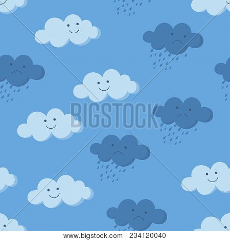 Cute Cartoon Smiling And Crying Rainy Clouds In The Sky Seamless Pattern