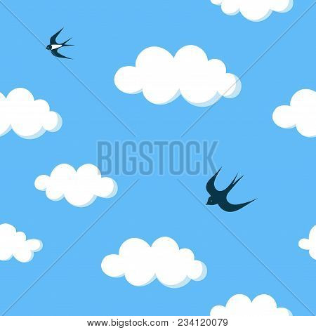 Flying Swallows In The Blue Sky With White Clouds Seamless Pattern