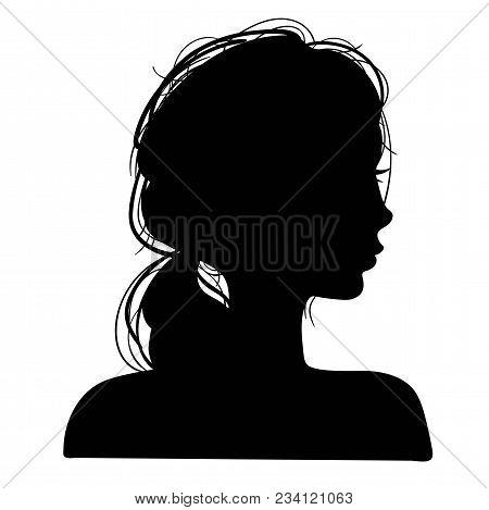 Silhouettes Head Girls. Logo And Advirtising Element. Vector Illustration
