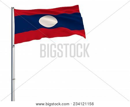 Isolate Flag Of Laos On A Flagpole Fluttering In The Wind On A White Background, 3d Rendering