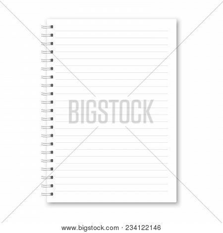 Vector Realistic Opened Notebook. Vertical White Metallic White Spiral Bound Blank Notebook, Copyboo