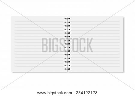 Vector White Realistic Opened Notebook Cover. Square Blank Notebook, Copybook, Brochure, Menu Horizo