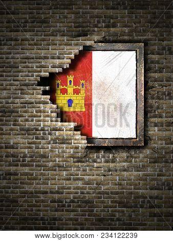 3d Rendering Of A Castilla La Mancha Spanish Community Flag Over A Rusty Metallic Plate Embedded On