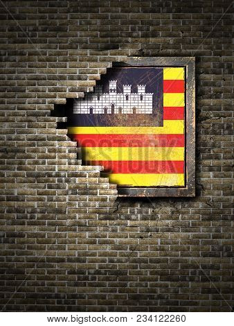 3d Rendering Of A Baleares Islands Spanish Community Flag Over A Rusty Metallic Plate Embedded On An