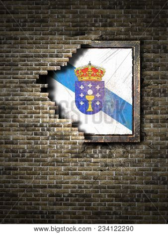 3d Rendering Of A Galicia Spanish Community Flag Over A Rusty Metallic Plate Embedded On An Old Bric