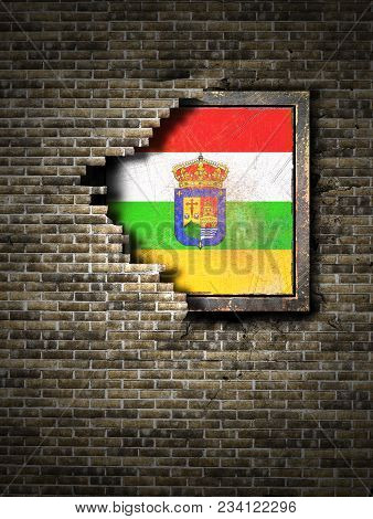 3d Rendering Of A La Rioja Spanish Community Flag Over A Rusty Metallic Plate Embedded On An Old Bri