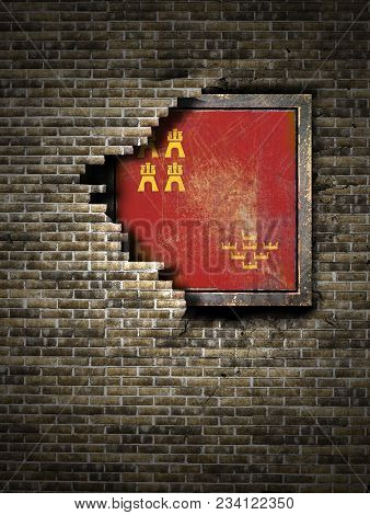3d Rendering Of A Murcia Spanish Community Flag Over A Rusty Metallic Plate Embedded On An Old Brick