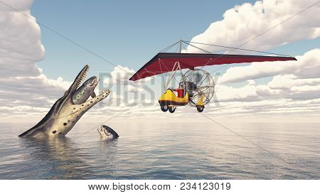 Computer Generated 3d Illustration With An Ultralight Trike Over The Sea And Prehistoric Marine Rept