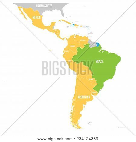 Vector Map Of Latin America With Differently Highlighted Language Groups - Spanish, Portuguese And F