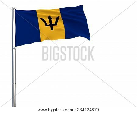 Isolate Flag Of Barbados On A Flagpole Fluttering In The Wind On A White Background, 3d Rendering