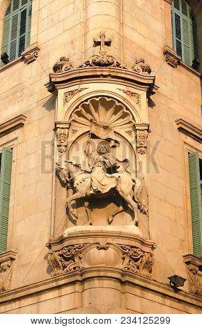 The Statue Of Saint James (santiago Or Sant Jaume) Riding His Horse On Saint James Square (plaça De