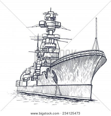 Cargo Ship. Warship With A High Mast. Vector Illustration.