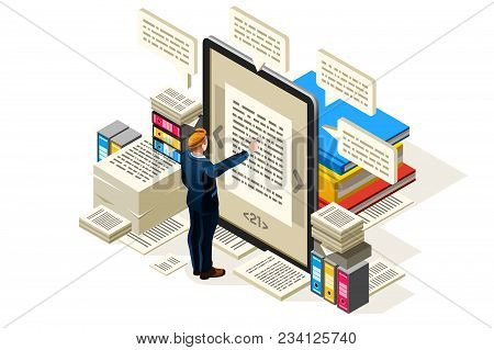 Textbook To Publish Online Electronic Paper, Isometric People Reading Textbook, Vector Isometric Des