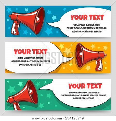 Announcement Megaphone Banners. Card Banner Set With Bullhorn Or Speaking Trumpet For Sale Voucher O