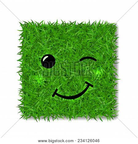 Green Grass Square Field 3d. Face Wink Smile. Smiley Grassy Emoticon Icon, Isolated White Background