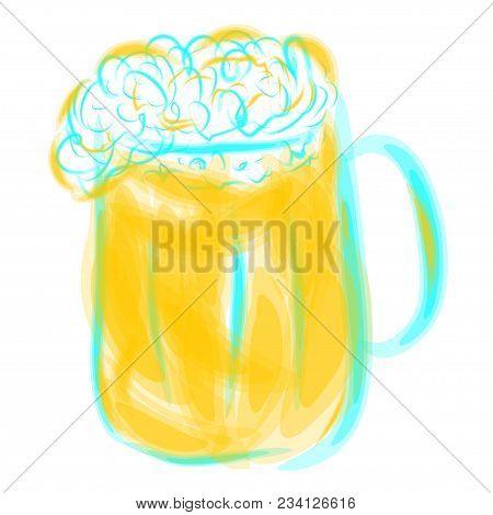Glass Mug Of Light Beer Like As Watercolor Image