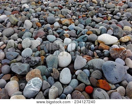 Perspective Rounded Sea Pebble Stones And Multicolor Rocks On Beach Natural Abstract Pebble Stone Te