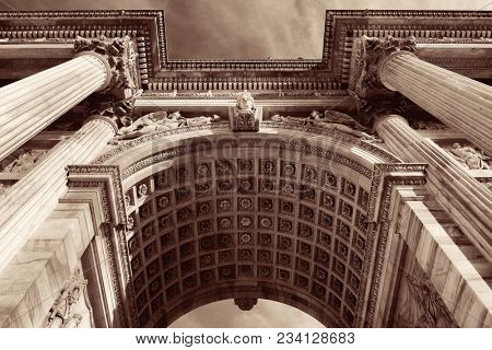Closeup view of Arch of Peace, or Arco della Pace in Italian, in Milan, Italy.