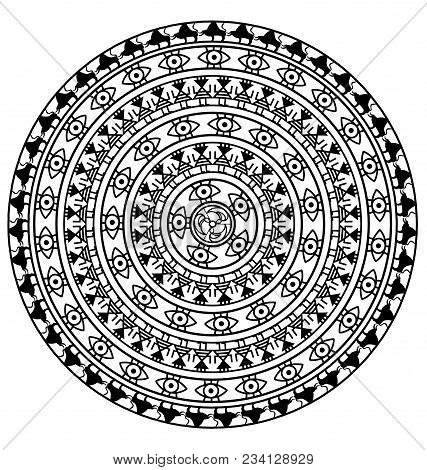 Abstract Black And White Colored Image Of Circle Consisting Of Lines And Figures