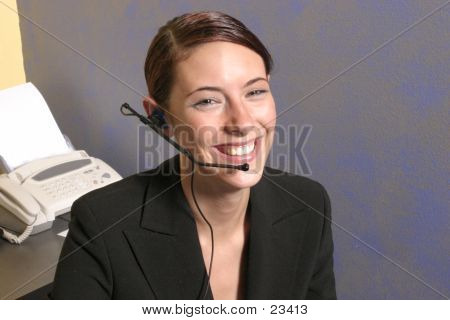 Business woman in office using headset poster