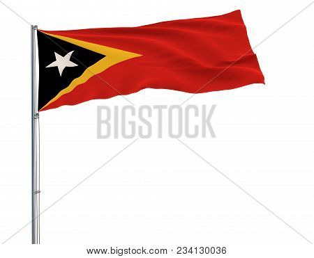 Flag Of Democratic Republic Of Timor-leste On The Flagpole Fluttering In The Wind On A White Backgro