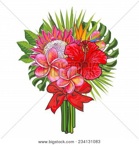Bouquet Of Tropical Flowers And Green Leaves With Ribbon Isolated On White Background. Hand Drawn Co