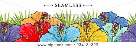 Tropical Flowers Hibiscuses Seamless Border Pattern With Sketch Multicolor Blossoms. Hand Drawn Vect