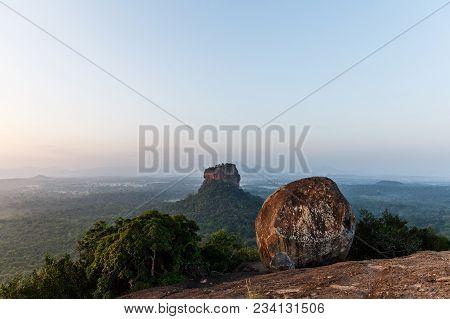 Beautiful Scenic View Of Rock On Mountain And Clear Sky, Sri Lanka, Sigiriya