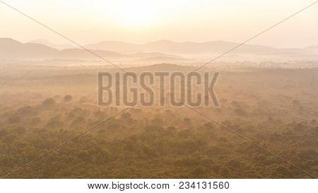 Beautiful Scenic View Of Mist Over Empty Filed In Asia, Sri Lanka, Sigiriya