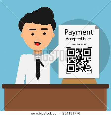 Qr Code Payment Accepted Here With Man