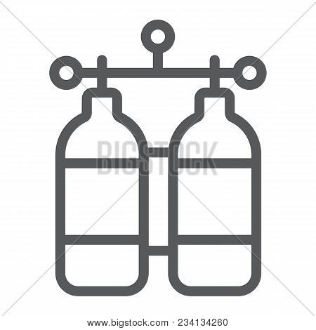 Oxygen Tank Line Icon, Diving And Underwater, Dive Tank Sign Vector Graphics, A Linear Pattern On A