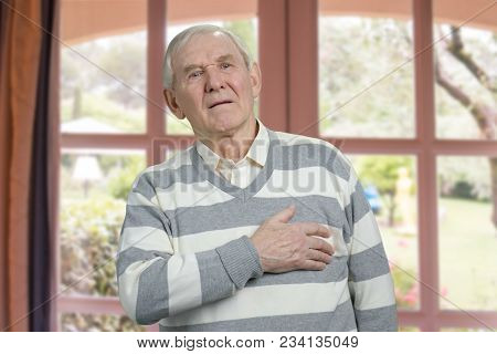 Old Man Having Chest Pain. Severe Heartache, Man Suffering From Heart Attack.