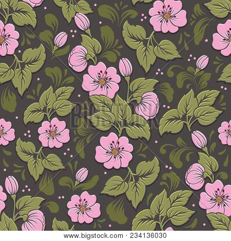 Vector Volumetric Flower Seamless Pattern Element. Elegant Luxury Embossed Texture For Backgrounds,