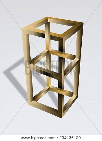 Impossible Cube Optical Illusion. Irrational Cube An Impossible Object. Viewed From A Certain Angle,