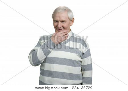 Happy Pensive Thoughtful Old Man. Thoughtful Senior Man Daydreaming Looking Down With A Smile, Think