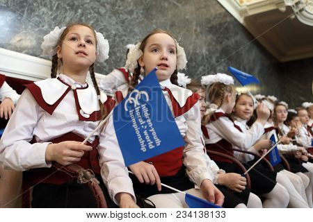 SAINT-PETERSBURG, RUSSIA - FEBRUARY 25, 2018: Participants of V Children and Youth World Choral Championship during the final round. First championship was held in Hong Kong in 2011