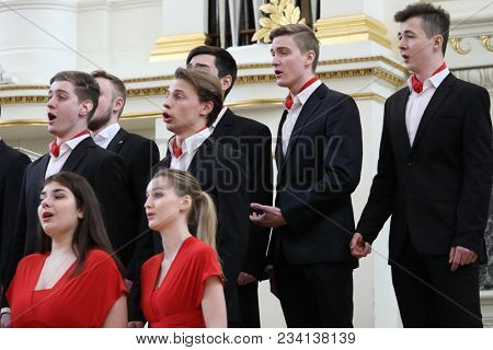 SAINT-PETERSBURG, RUSSIA - FEBRUARY 25, 2018: Academic Choir of the Gnessins Musical College, Moscow, Russia, performs during V Children and Youth World Choral Championship
