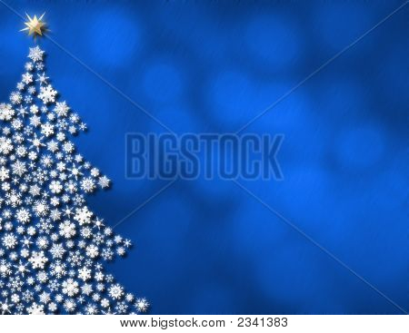 Blue Glowing Lights & Christmas Tree Background