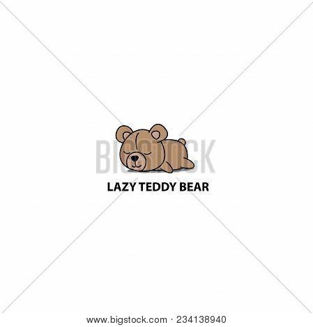 Lazy Teddy Bear, Cute Bear Sleeping Icon, Logo Design, Vector Illustration