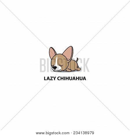 Lazy Dog, Cute Chihuahua Puppy Sleeping Icon, Logo Design, Vector Illustration