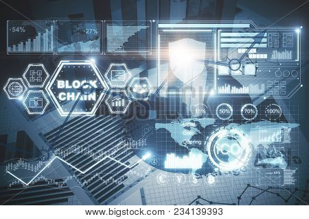 Abstract Digital Blockchain Backdrop. Cryptography Concept. Double Exposure