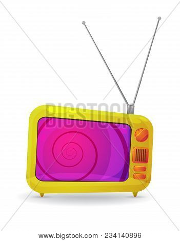 Colorful Cartoon Style Tv Set With A Hypnotic Spiral On The Screen, Isolated On White. Eps10 Vector