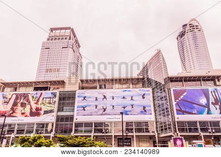 Bangkok, Thailand - July 11, 2017: Central World Shopping Mall, A Landmark Of Bangkok, With Twilight