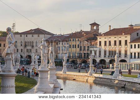 Padova, Italy - August 24, 2017: Plaza De Prato Della Valle In Padua.