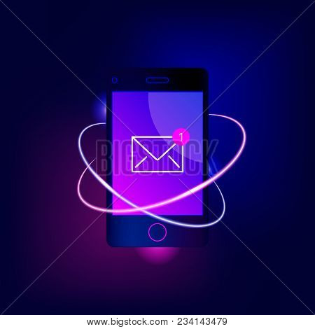New Email Notification On Mobile Phone. Smartphone Screen With New Unread E-mail Message And Motion