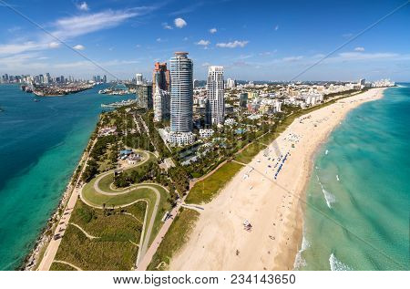 South Beach, Miami, Florida - 30 Jan 2017: South Beach Miami Skyline Aerial View