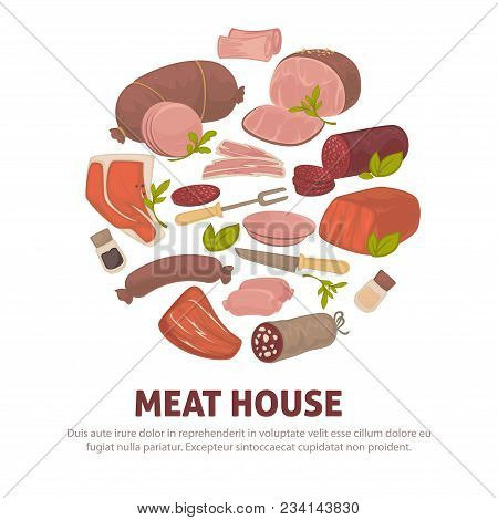 Farm Meat Products Poster Of Sausages And Butchery Delicatessen For Shop Or Market. Vector Salami Or